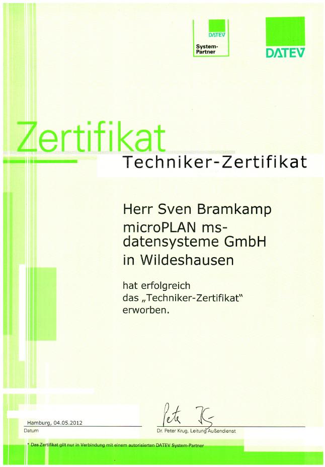 DATEV Techniker Zertifikat Sven Bramkamp