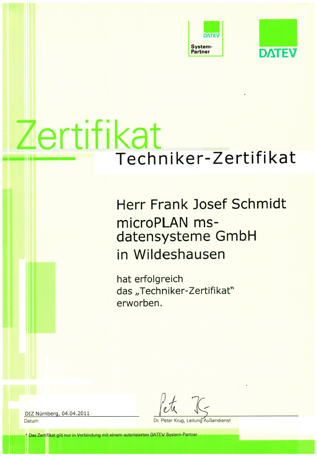 DATEV Technik Zertifikate Frank Josef Schmidt