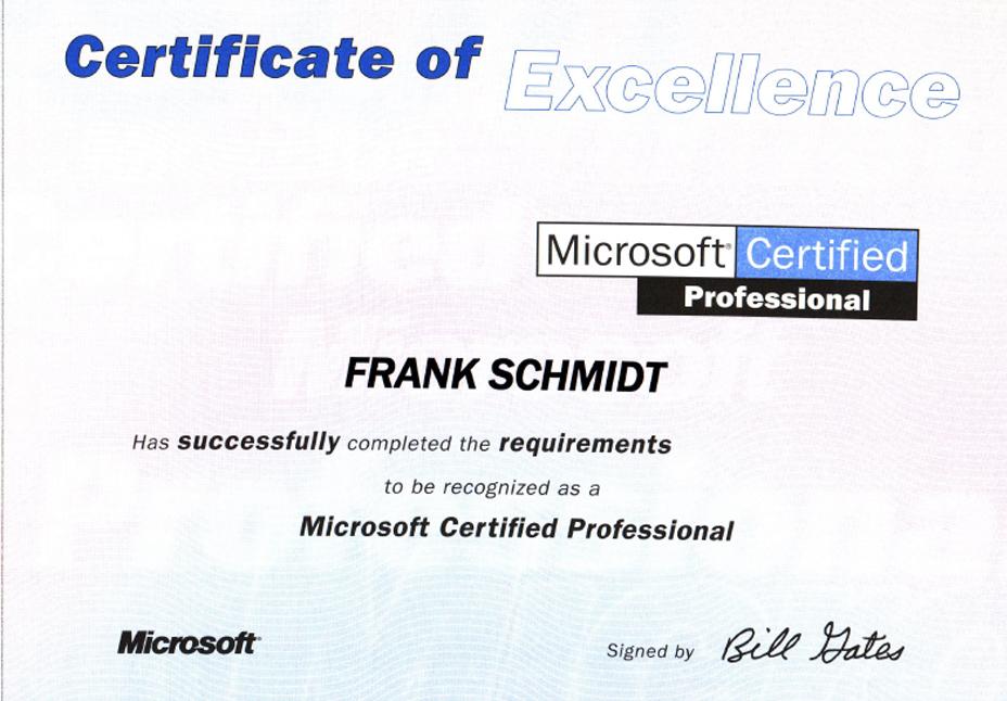 Microsoft Certified Professional Frank Josef Schmidt